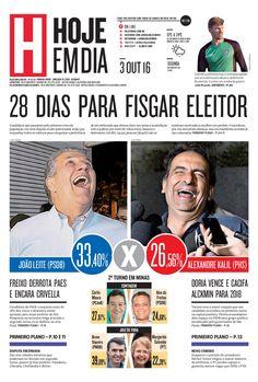 Capa do dia 03/10/2016 #HojeEmDia #Jornal #Notícias #News #Newspaper