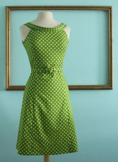 Mad men dress with deep v neck and a line skirt in green polka dots -MELISSA STYLE.  via Etsy.
