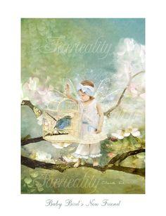 fairy Print  'Baby Bird's New Friend ' by CharlotteBirdfairies