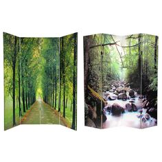 Oriental Furniture 6 ft. Tall Double Sided Path of Life Canvas Room Divider - 4 Panel, Green