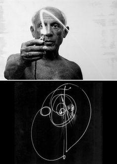 rhibozoids:  pablo picasso light drawings (1949)