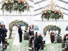 ceremony decor, hanging floral chandelier, aisle decor, floral arbor, floral arch #fleurtaciousdesigns -Elario Photography