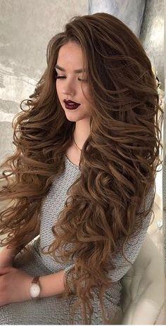 Big Curls For Long Hair, Very Long Hair, Long Curly Hair, Big Hair, Curly Hair Styles, Pageant Hair, Stunning Brunette, Rapunzel Hair, Beautiful Long Hair