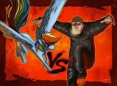 """UNCLE FESTER VS. RAIMBOWDASH ! Another exercize form Comicamente's comic course! Uncle Fester ( Addam's family - ©Charles Addams) VS. Raimbowdash (My Little Pony - ©Hasbro) for the """"versus"""" lesson! :D #ruggine"""