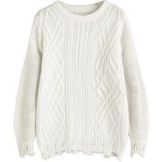Cable Knit Drop Shoulder Plain Sweater White