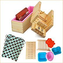 3 Wooden Wood Soap Molds with Liners and 1 Soap Loaf Cutter Box Combo set