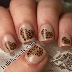 Leopard Print Hearts Nail Art Water Transfer Decal