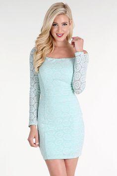 Mint Sequined Lace Off Shoulder Dress
