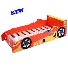 Kids Racing Bed Frame Car Toddler Children Boys Junior Wooden Bedroom Sleep Crib