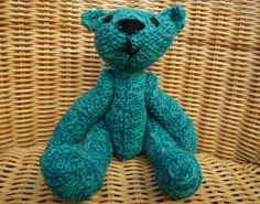 Traditional Teddy Bear Old Fashioned Vintage-Style Teal Turquoise Blue Hand Knitted Hand Made Teddy Bear in 100% Wool