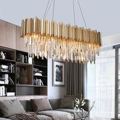 Premium Quality Crystals Gold Plated Stainless Steel Crystal LED Modern Chandelier Buy Today And Save! Dining Room Ceiling Lights, Kitchen Chandelier, Chandelier Bedroom, Ceiling Chandelier, Modern Chandelier, Room Lights, Acrylic Chandelier, Modern Lighting, Natural Chandeliers