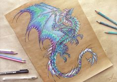 Dragon of Northern Lights - tattoo design by AlviaAlcedo on deviantART (Love the colors the artist used!)