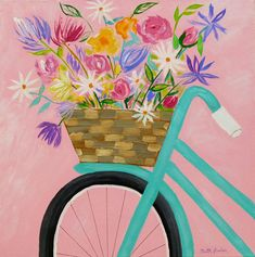 """Bicycle Flowers"" by Faith Jordan in Etsy shop faithcolors, 20x20x3/4, original acrylic painting on canvas, Spring flowers painting, bicycle painting, pink aqua color scheme, Mother's Day gift for mom, Mother's Day painting, gift for woman."