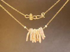Necklace 305 Pink biwa pearls on chain by CalicoJunoJewelry, $80.00