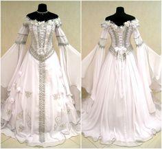 Robe de mariée médiévale L-XL-2XL 16-18-20 argent sorcière gothique Narnia tudor neige glace Reine costume lotr larp mariage WICCA celtique GN