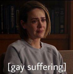 Ahs, Older Actresses, Lesbian Humor, Lgbt Memes, Wholesome Memes, Cute Gay, Mood Pics, American Horror Story, Horror Stories