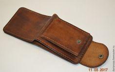 Купить Мужской кошелек №2 - коричневый, портмоне из кожи, кошелек ручной работы, кошелек мужской
