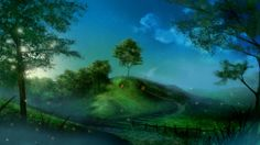 trees fences houses The Lord of the Rings stairways fireflies artwork fictional landscapes The Shire Bag End  / 2560x1440 Wallpaper