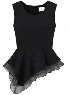 Black Sleeveless Zipper Asymmetrical Ruffles Blouse