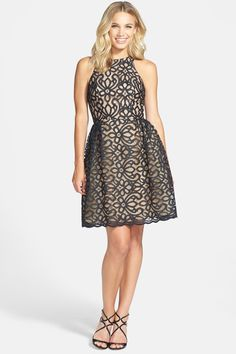 Beautiful dress, too bad it's only in black. ML Monique Lhuillier Bridesmaids Lace Fit Flare Dress available at Full Skirt Dress, Dress Me Up, Lace Dress, Monique Lhuillier Bridesmaids, Floral Bridesmaid Dresses, Short Dresses, Girls Dresses, Fashion Fabric, Women's Fashion