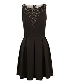 Look what I found on #zulily! Black Lace Pleated Elene Sleeveless Dress by Louche #zulilyfinds