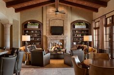 bookcases framing the fireplace ... need to do something like this in the great room :).