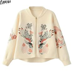 Women 4 Colors Floral Embroidery Long Sleeve Brief Knitted Sweater Zip Up Cardigan Fall New Ethnic Elegant Casual Knitwear