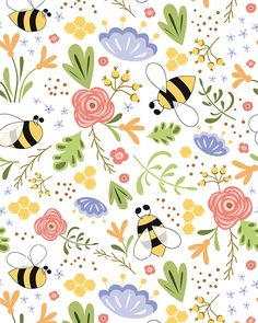 Cute summer floral pattern with bee. Meadow flowers. Summer mood collection