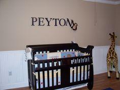 Baby Boys Nursery idea. Love the monkey pulling off the last letter.
