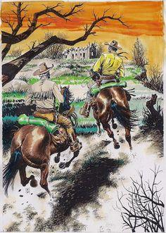 Ilustração original de Claudio Villa para o mini-póster de Tex Nuova Ristampa 397