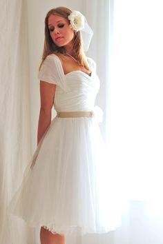 chiffon tea length wedding dress $599