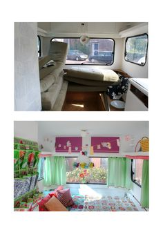 Before & after - colourful caravan makeover