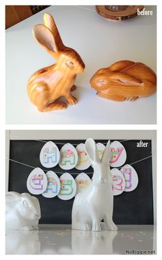 Here's a fun before and after perfect for Easter decor. Easter Decor, Easter Crafts, Thrift Shop Finds, Spring Home Decor, Hens, Seasonal Decor, Easter Bunny, Thrifting, Upcycle