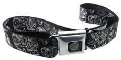 Sugar Skull Seatbelt Design Belt! $23.99 http://skullcart.com/sugar-skulls-thaneeya-seatbelt-belt-dust-of-living-black-and-white/ #skull #skulls #belt #buckle #skullcart