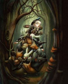 Benjamín Lacombe is an illustrator who has born on July 1982 in Paris where he is living and working currently. I think that his illustrations are very sweets, but. Arte Lowbrow, Mark Ryden, Art Et Illustration, Rabbit Illustration, Character Illustration, You Draw, Surreal Art, Dark Art, Unique Art