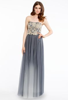 LACE AND PEARL DRESS WITH PLEATED OMBRE SKIRT #grey #lace #longdress #ombre #white #camillelavie