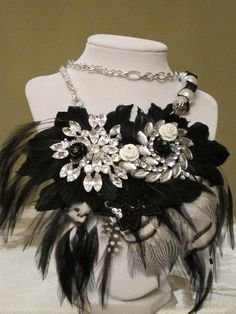 Black and White Art Deco Diva Feathered Statement by cosmiksouls, $345.00