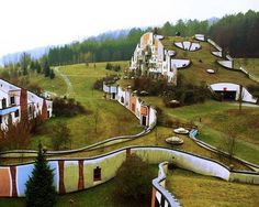A great view of an underground home complex in Austria