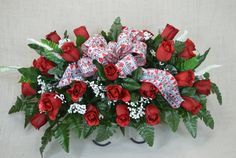 No. S1605 Valentine Red Roses Cemetery Flower Arrangement, Headstone saddle, Grave,   Tombstone arrangement,  Cemetery flowers by AFlowerAndMore on Etsy