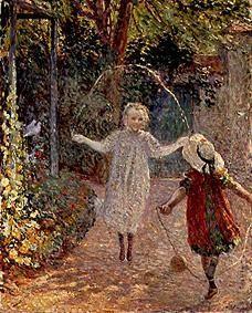 """Henri Lebasque """"Enfants sautant a la corde dans le jardin"""""""