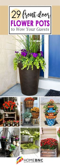Front door flower pots are the perfect way to show your love of plants if you have little or no yard for a garden. See the best ideas and designs! #LandscapingIdeas