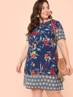 SHEIN Plus Botanical Print Tunic Dress women's plus size clothing including dresses, tops, bottoms, and lingerie. plus size clothing plus size dresses plus size fashion plus size clothes affordable plus size clothing trendy plus size clothing urban plus size clothing cute trendy plus size clothes plus size plus size womens clothing trendy plus size clothing plus size clothing stores plus size maxi dresses plus size stores cheap plus size clothing plus size boutique plus size party dresses