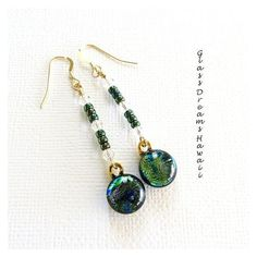 Dichroic Glass Dangle Earrings, Fused Glass Drop Earrings, Handmade... ❤ liked on Polyvore featuring jewelry, earrings, drop dangle earrings, bohemian jewellery, boho jewellery, peacock jewelry and long earrings