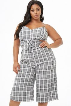 Plus Size Plaid Culotte Jumpsuit African Wear Designs, Plus Size Dresses, Plus Size Outfits, New Arrival Dress, Big Girl Fashion, Plaid Fashion, African Attire, Plus Size Model, Spring Outfits