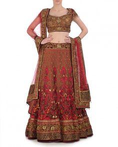 Red colour bridal lehenga choli