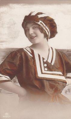 Vintage 1910s Edwardian Swimsuit Beauty