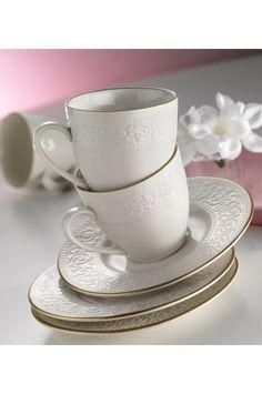 Kütahya Porselen Açelya 6 Kişilik Çay Fincan Takımı Krem