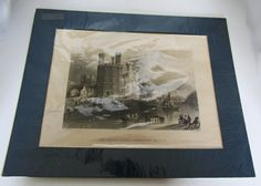 Antique Engraving of The Eagle Tower Carnarvon by GildedTrifles
