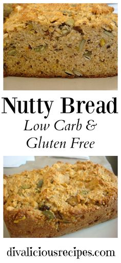 Low carb and gluten free nutty bread. Perfect for breakfast!
