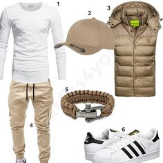 Weiß-Beiges Outfit mit Weste und Paracord (m0470) #outfit #style #fashion #menswear #mensfashion #inspiration #shirt #cloth #clothing #männermode #herrenmode #shirt #mode #styling #sneaker #menstyle